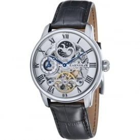 Thomas Earnshaw ES-8006-01 Longitude Silver & Black Leather Mens Automatic Skeleton Watch