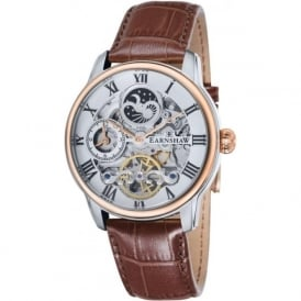 Thomas Earnshaw ES-8006-03 Longitude Two Toned & Brown Leather Mens Automatic Skeleton Watch