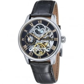 Thomas Earnshaw ES-8006-04 Longitude Silver, Gold & Black Leather Mens Automatic Skeleton Watch