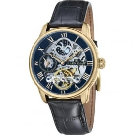 Thomas Earnshaw ES-8006-05 Longitude Blue, Gold & Black Leather Mens Automatic Skeleton Watch