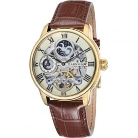 Thomas Earnshaw ES-8006-06 Longitude Champagne & Brown Leather Mens Automatic Skeleton Watch