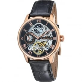 Thomas Earnshaw ES-8006-07 Longitude Rose Gold & Black Leather Mens Automatic Skeleton Watch
