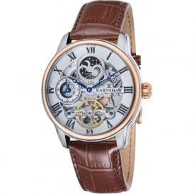 ES-8006-08 Longitude Silver, Rose Gold & Brown Leather Mens Automatic Skeleton Watch