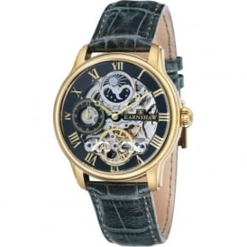 ES-8006-09 Longitude Gold & Green Leather Mens Automatic Skeleton Watch