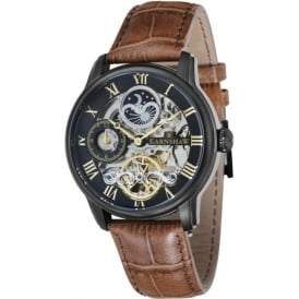 Thomas Earnshaw ES-8006-10 Longitude Black Steel & Brown Leather Mens Automatic Skeleton Watch