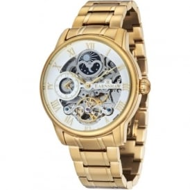 ES-8006-22 Longitude Gold Steel & White Mens Automatic Skeleton Watch