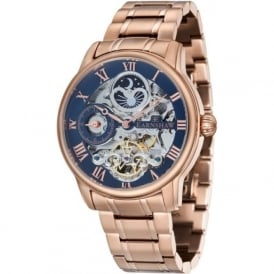 ES-8006-44 Longitude Rose Gold Steel & Blue Mens Automatic Skeleton Watch