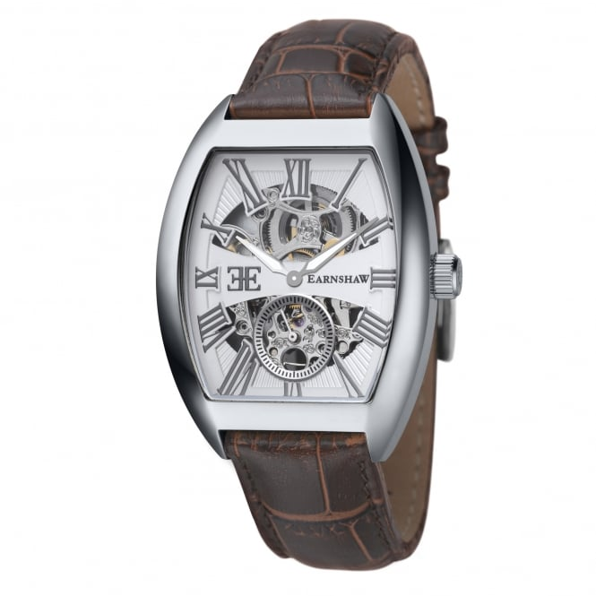 Thomas Earnshaw ES-8015-02 Holborn Silver & Brown Textured Leather Automatic Men's Watch