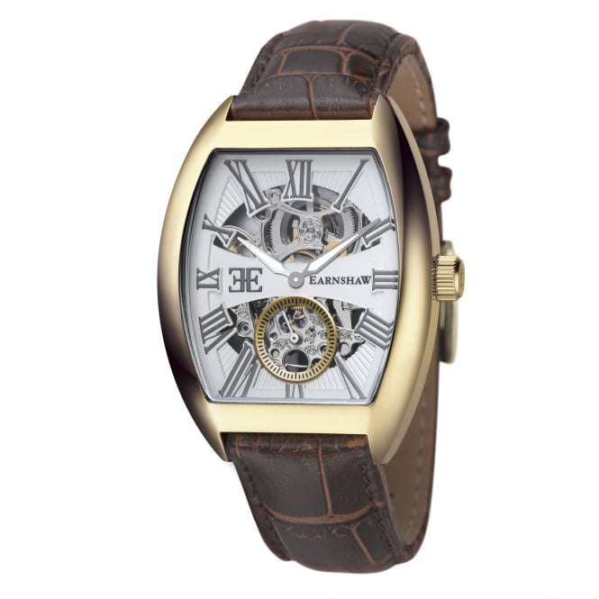 Thomas Earnshaw ES-8015-03 Holborn Gold & Brown Leather Automatic Men's Watch