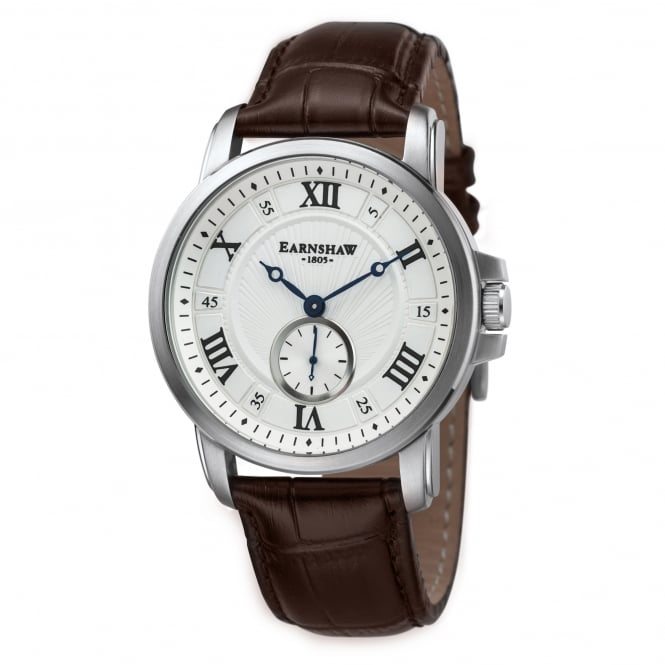 Thomas Earnshaw ES-8021-02 Fitzroy Silver & Brown Leather Men's Watch