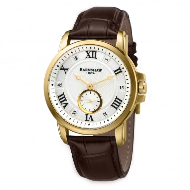 Thomas Earnshaw ES-8021-03 Fitzroy Gold & Brown Textured Leather Men's Watch