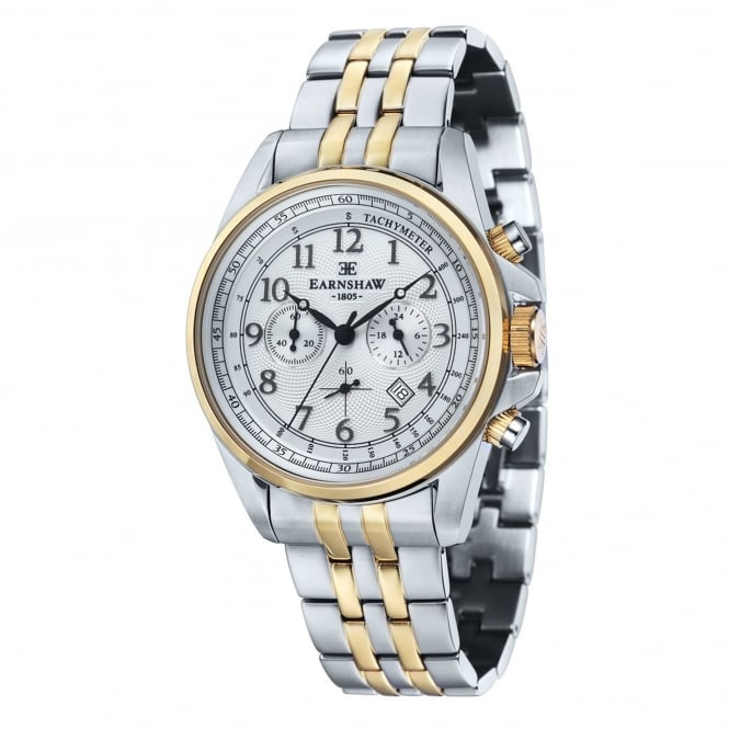 Thomas Earnshaw ES-8028-44 Commodore Two Tone Stainless Steel Chronograph Men's Watch
