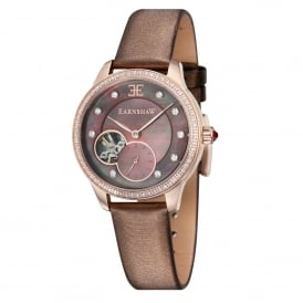 ES-8029-04 Lady Australis Rose Gold & Brown Leather Mother of Pearl Ladies Watch