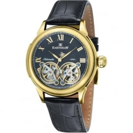 Thomas Earnshaw ES-8030-02 Observatory Gold, Blue & Black Leather Mens Skeleton Automatic Watch