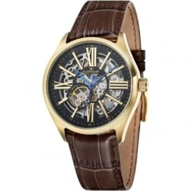 Thomas Earnshaw ES-8037-03 Armagh Gold & Brown Leather Mens Automatic Skeleton Watch