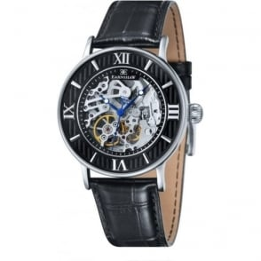 Thomas Earnshaw ES-8038-01 Darwin Black, Silver & Black Leather Mens Automatic Skeleton Watch