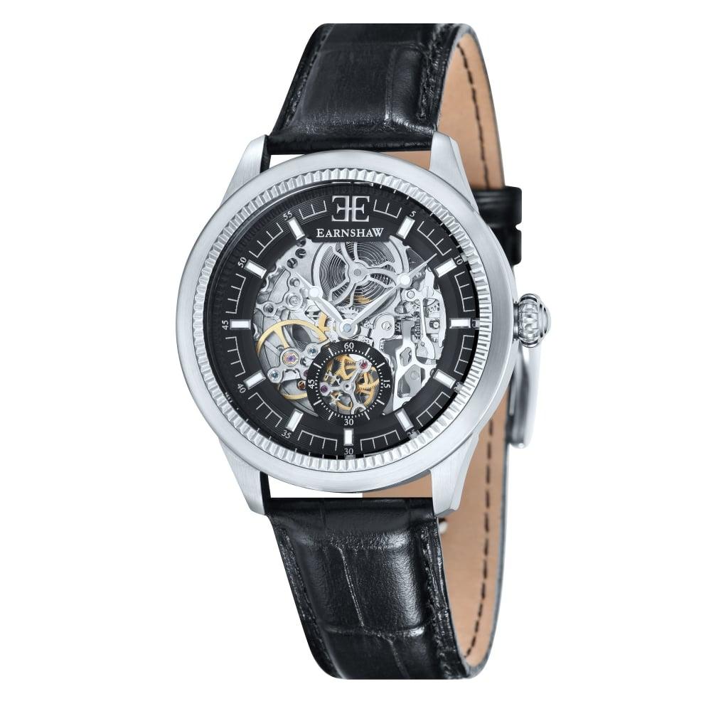 thomas earnshaw es 8039 01 academy automatic skeleton watch thomas earnshaw es 8039 01 academy silver black leather automatic skeleton men s watch