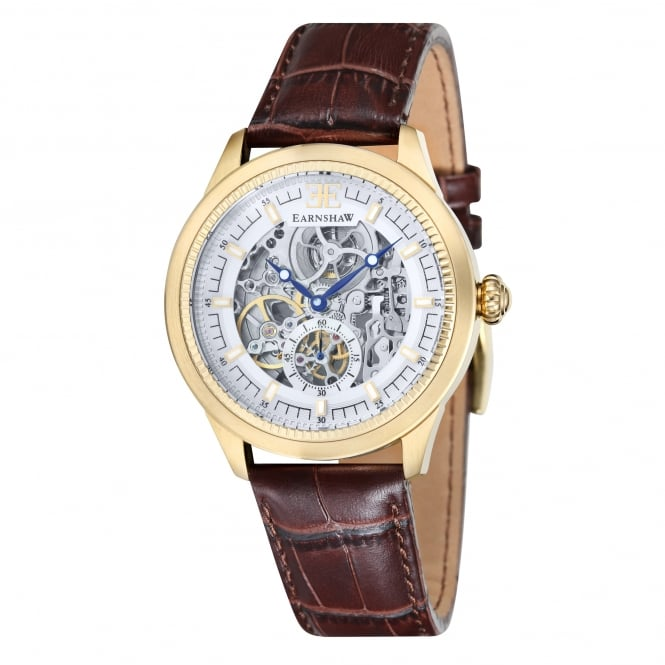 Thomas Earnshaw ES-8039-03 Academy Gold & Brown Textured Leather Automatic Skeleton Men's Watch