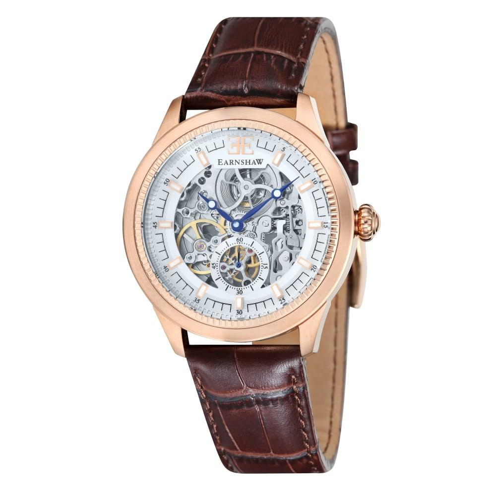 thomas earnshaw es803904 academy rose gold u0026 brown leather automatic skeleton menu0027s watch
