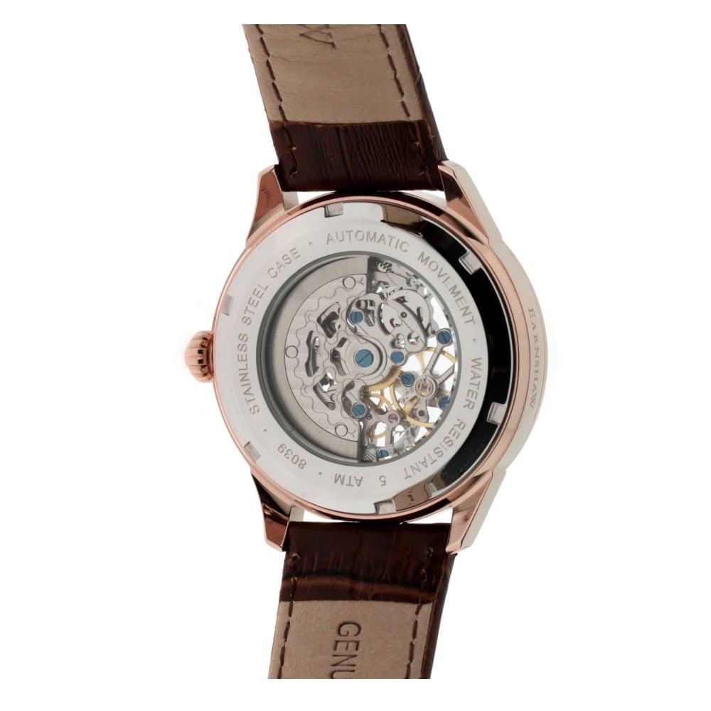 thomas earnshaw es 8039 04 academy automatic skeleton watch thomas earnshaw es 8039 04 academy rose gold brown leather automatic skeleton men s