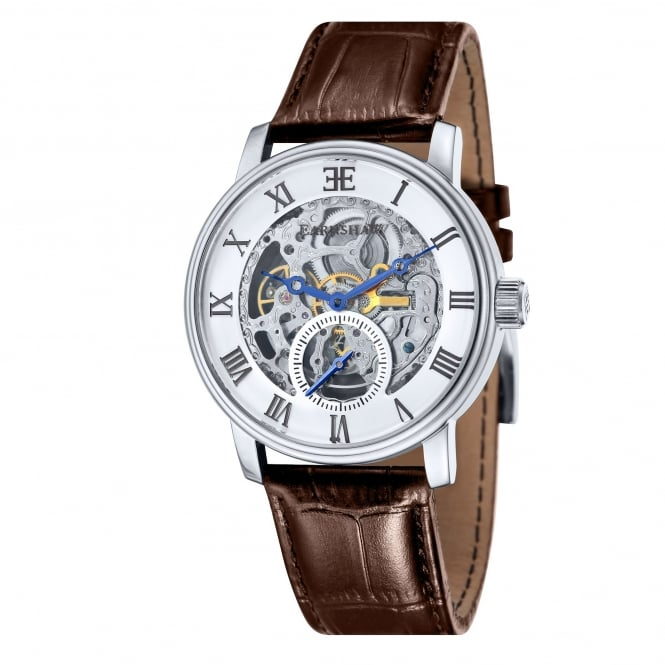 Thomas Earnshaw ES-8041-02 Westminster Silver & Brown Leather Automatic Watch