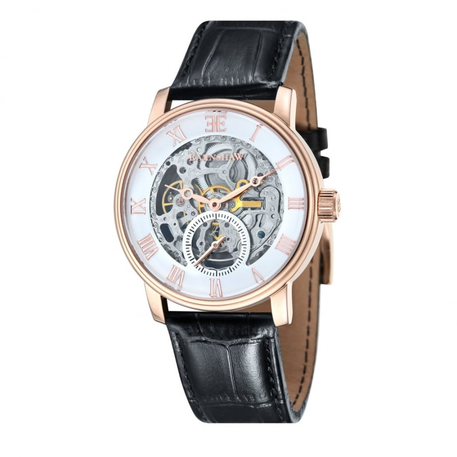Thomas earnshaw es 8041 03 westminster classic rose gold black leather automatic skeleton for Classic skeleton watch