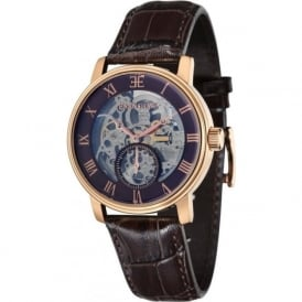 Thomas Earnshaw ES-8041-05 Westminster Classic Gold & Brown Leather Automatic Skeleton Watch