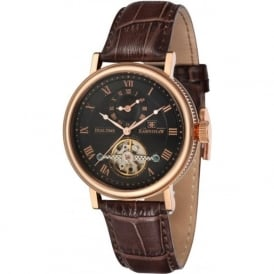 ES-8047-04 Beaufort Dual Time Rose Gold & Brown Leather Automatic Watch