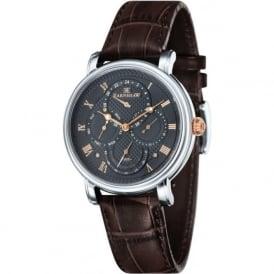 Thomas Earnshaw ES-8048-02 Longcase Grey Multi-Fuctional Brown Leather Watch
