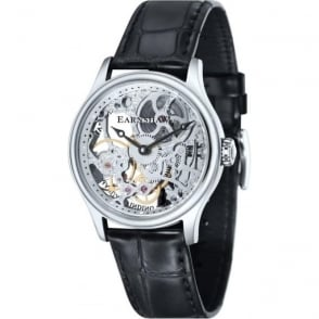 Thomas Earnshaw ES-8049-01 Bauer Skeleton Silver & Black Leather Mechanical Watch
