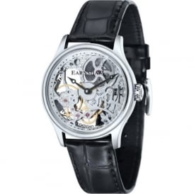 ES-8049-01 Bauer Skeleton Silver & Black Leather Mechanical Watch