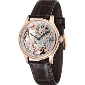 Thomas Earnshaw ES-8049-03 Bauer Skeleton Rose Gold & Brown Leather Mechanical Watch