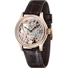 ES-8049-03 Bauer Skeleton Rose Gold & Brown Leather Mechanical Watch