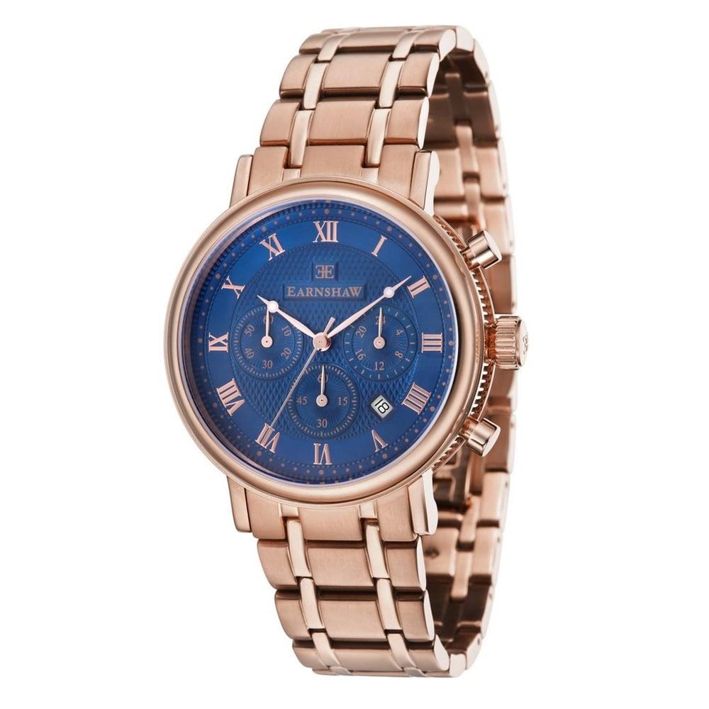 546153f710e0 ES-8051-33 Beaufort Blue  amp  Rose Gold Stainless Steel Chronograph Men