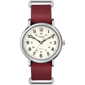Timex Originals T2P493 Men's Weekender Red Leather Watch