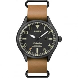 Timex Originals TW2P64700 Waterbury Black Steel & Tan Leather Nato Mens Watch