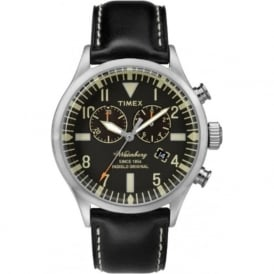 Timex TW2P64900 Silver & Black Leather Men's Watch