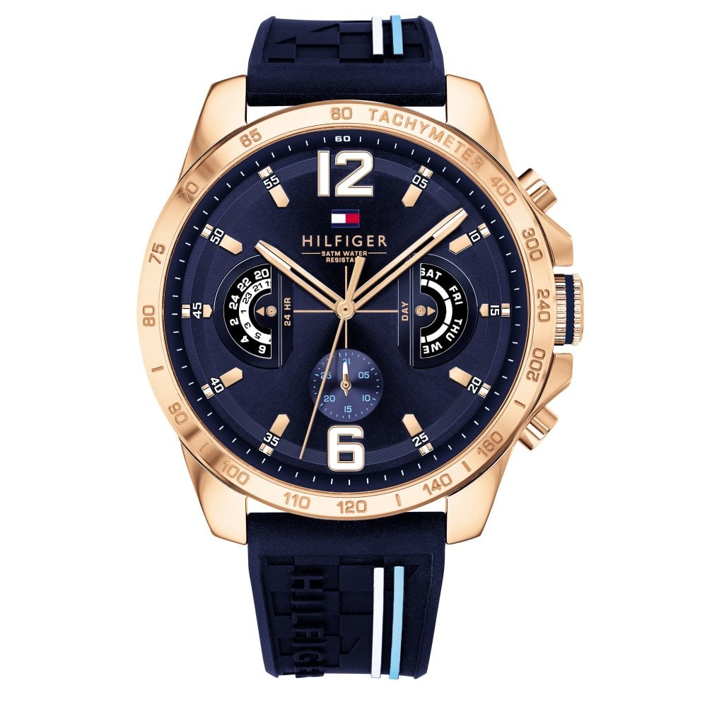 3f21ebfba7ae Tommy Hilfiger 1791474 Decker Rose Gold and Blue Silicon Men s ...