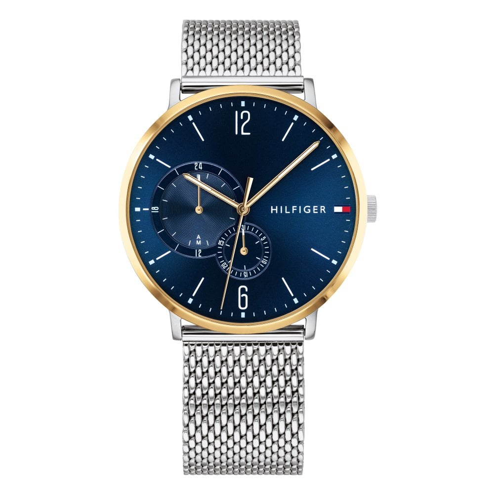 96a6fe27 Tommy Hilfiger 1791505 Brooklyn Blue and Silver Mesh Stainless Steel ...