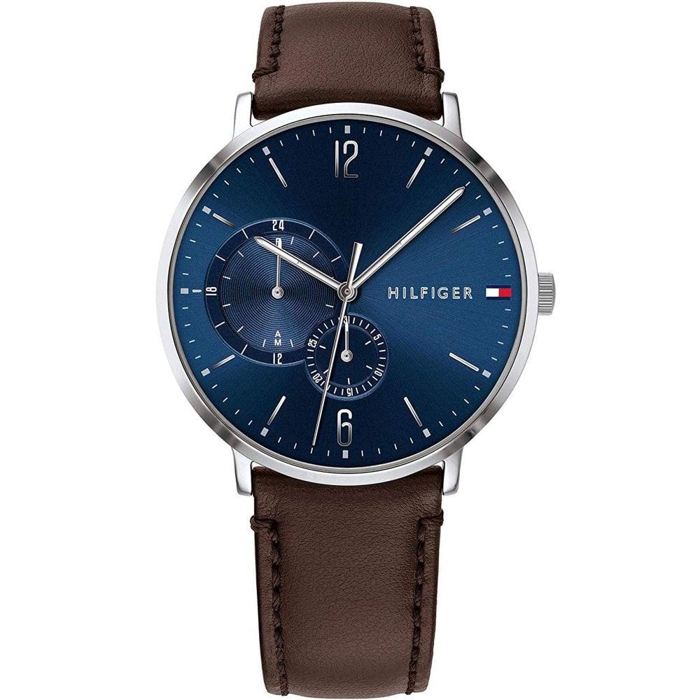 3dbbe2e7 Tommy Hilfiger 1791508 Brooklyn Blue and Brown Leather Men's Watch