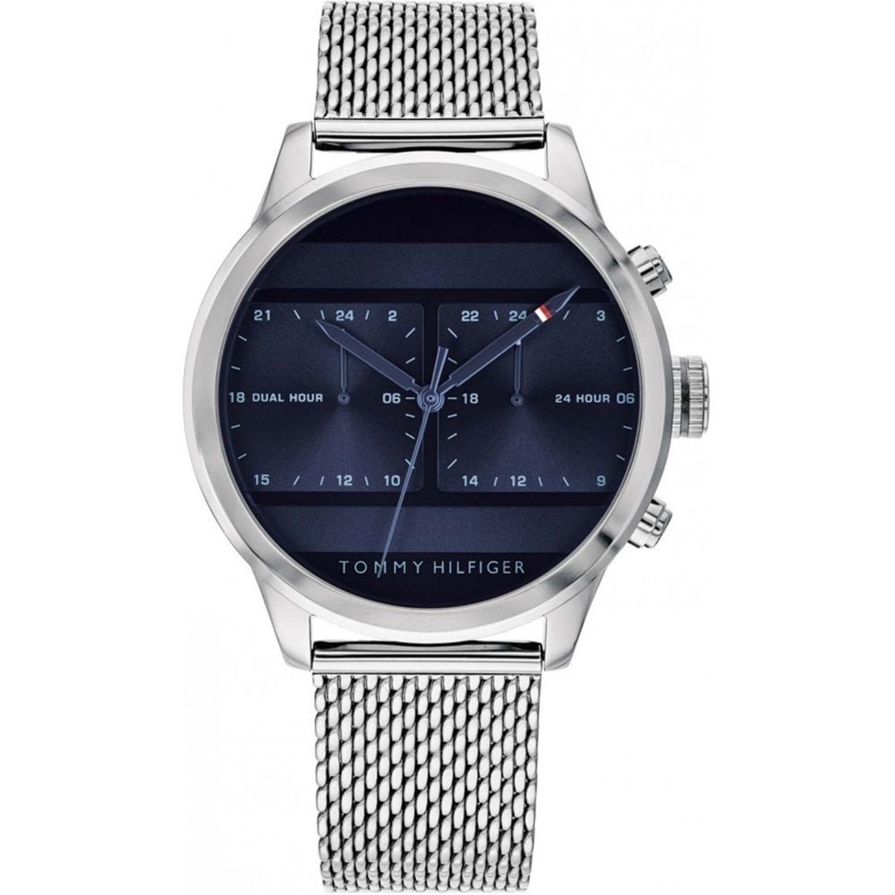 e5f1edfd 1791596 Blue & Silver Mesh Stainless Steel Dual Time Men's Watch