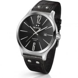 TW Steel TW1300 Slim Line Mens Black Leather Sapphire Watch