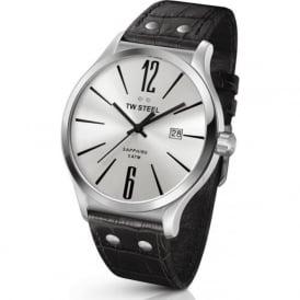 TW Steel TW1301 Slim Line Mens Silver on Black Leather Sapphire Watch