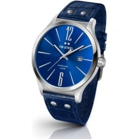 TW Steel TW1302 Slim Line Mens Blue Leather & Stainless Steel Watch