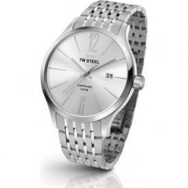 TW Steel TW1307 Slim Line Mens Silver Dial Stainless Steel Watch