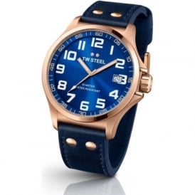 TW Steel TW404 Pilot 45mm Blue on Blue Leather Rose Gold Mens Watch