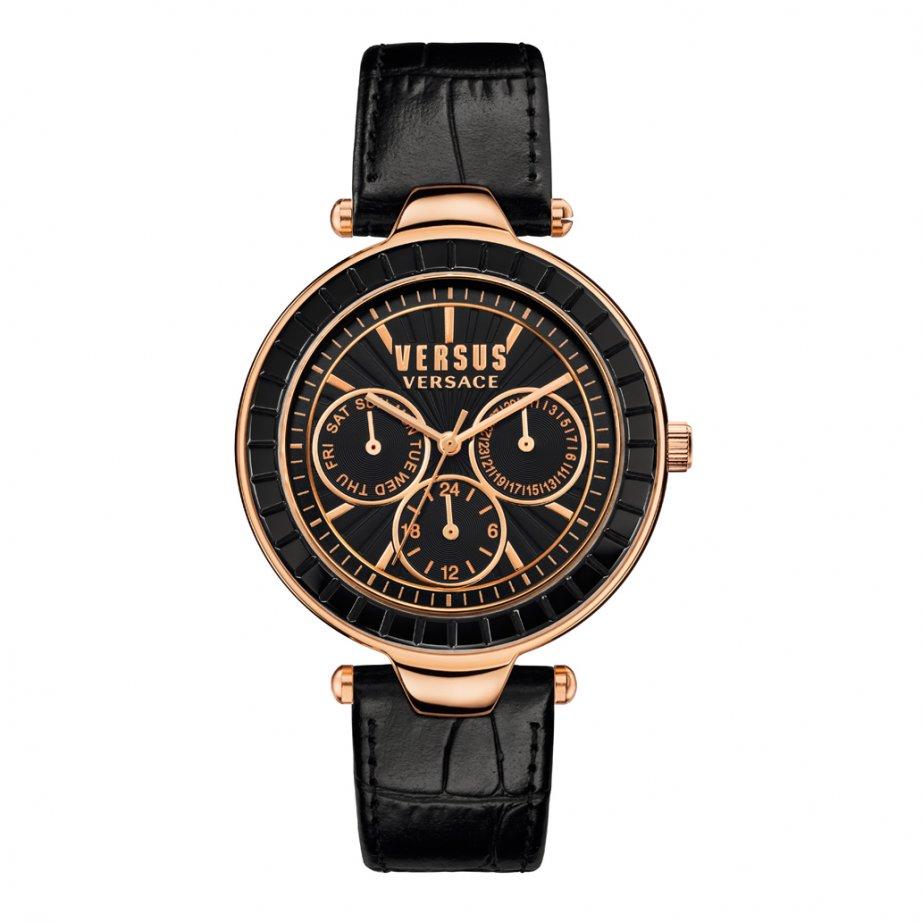 versus versace sos04 womens chronograph black textured