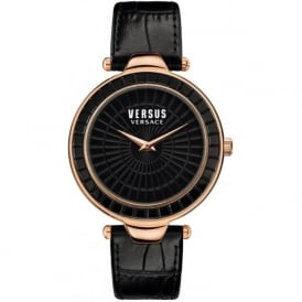 Versus Versace SQ112 Womens Black Textured Leather Watch