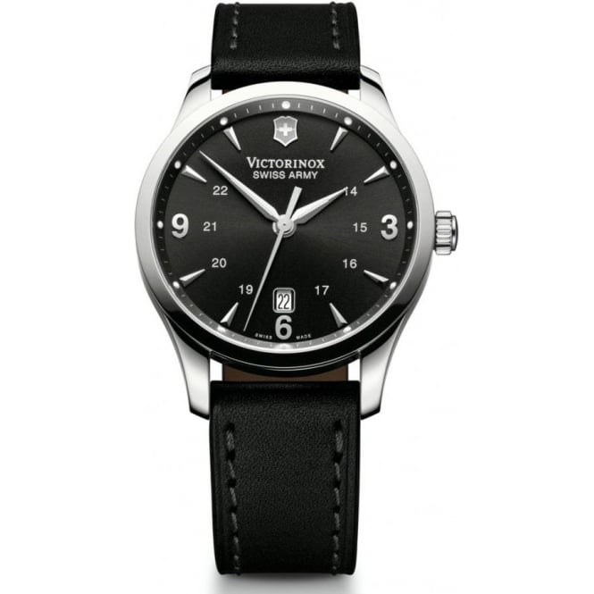 Victorinox Swiss Army 241474 Alliance Black Leather & Black Dial Quartz Watch