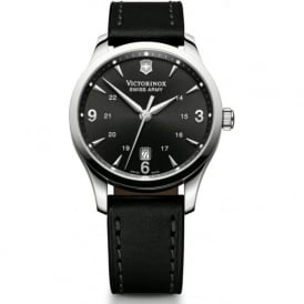 241474 Alliance Black Leather & Black Dial Quartz Watch